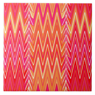 Ethnic Chevron Damask, Coral Orange and Pink Tile