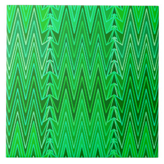 Ethnic Chevron Damask, Emerald and Lime Green Tile