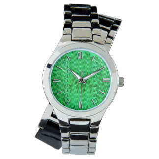 Ethnic Chevron Damask, Emerald and Lime Green Watch
