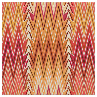 Ethnic Chevron Damask, Gold, Rust and Cream Fabric