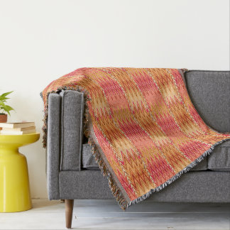 Ethnic Chevron Damask, Gold, Rust and Cream Throw Blanket