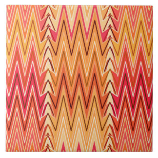 Ethnic Chevron Damask, Gold, Rust and Cream Tile