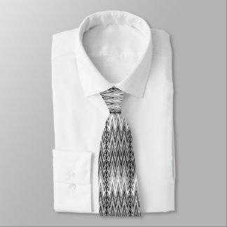 Ethnic Chevron Damask, Gray, Black and White Tie