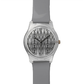 Ethnic Chevron Damask, Gray, Black and White Watch