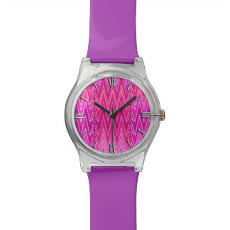 Ethnic Chevron Damask, Purple and Fuchsia Pink Watch