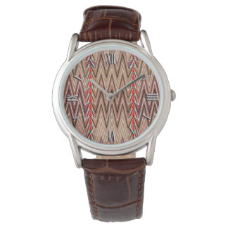 Ethnic Chevron Damask, Taupe Tan and Beige Watch