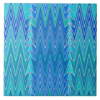Ethnic Chevron Damask, Turquoise and Blue Tile