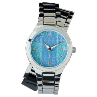 Ethnic Chevron Damask, Turquoise and Blue Watch