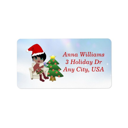 Ethnic Christmas Girl Address Labels