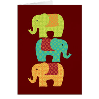 Ethnic Elephants with Flowers on Maroon Red Card