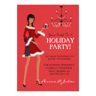 Ethnic Fashion Girl Christmas Glitter Holiday Card