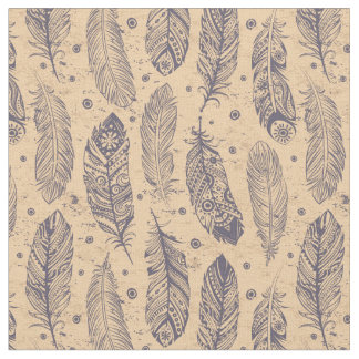 Ethnic Feather Outline Pattern Fabric