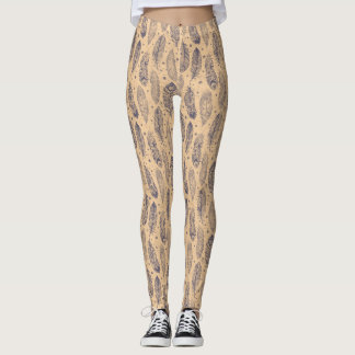 Ethnic Feather Outline Pattern Leggings