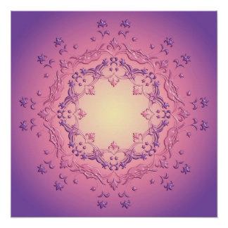Ethnic floral gradient mandala poster