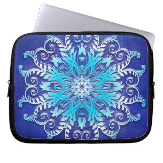 ethnic floral mandala on grunge background laptop sleeve
