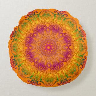 Ethnic floral mandala on orange background. round pillow