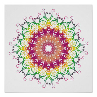 ethnic floral multicolor mandala. poster