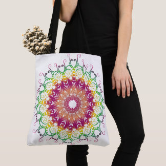 Ethnic floral multicolor mandala. tote bag