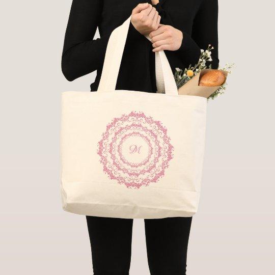 Ethnic floral pink mandala. Monogram. Large Tote Bag