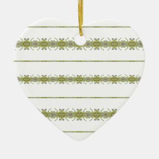 Ethnic Floral Stripes Ceramic Heart Ornament