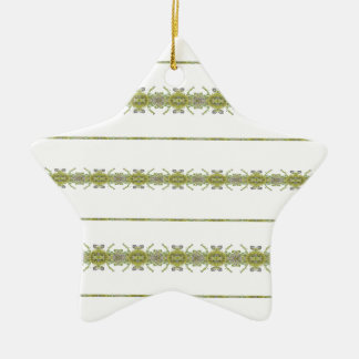 Ethnic Floral Stripes Ceramic Star Ornament