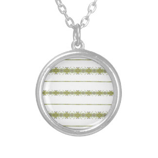 Ethnic Floral Stripes Silver Plated Necklace