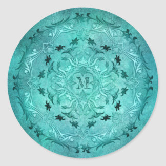 Ethnic floral turquoise grunge mandala classic round sticker