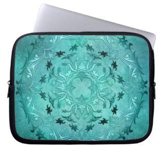 Ethnic floral turquoise grunge mandala laptop sleeve
