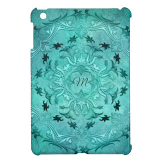 Ethnic floral turquoise grunge mandala. monogram. iPad mini cases