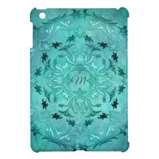 Ethnic floral turquoise grunge mandala. monogram. iPad mini cover