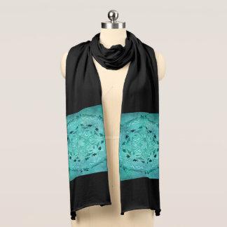 Ethnic floral turquoise grunge mandala scarf