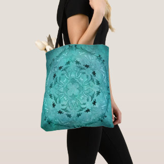 Ethnic floral turquoise grunge mandala tote bag