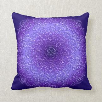 ethnic floral violet mandala throw pillow
