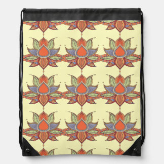 Ethnic flower lotus mandala ornament drawstring bag
