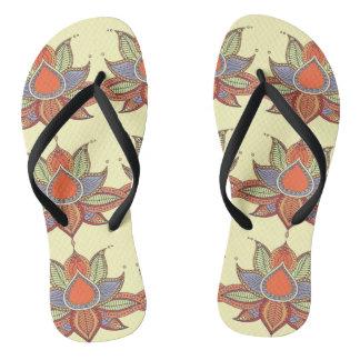 Ethnic flower lotus mandala ornament flip flops