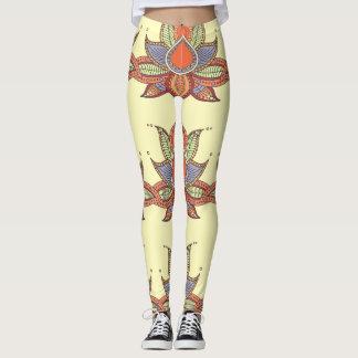 Ethnic flower lotus mandala ornament leggings