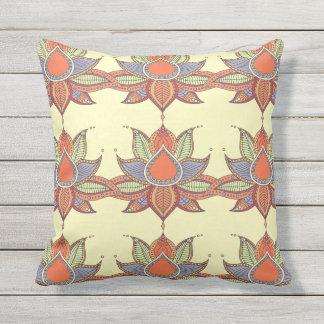 Ethnic flower lotus mandala ornament outdoor pillow