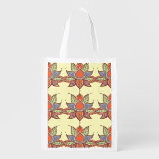 Ethnic flower lotus mandala ornament reusable grocery bag