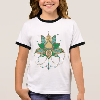 Ethnic flower lotus mandala ornament ringer T-Shirt