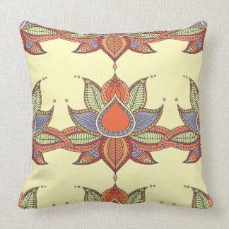 Ethnic flower lotus mandala ornament throw pillow