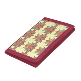 Ethnic flower lotus mandala ornament tri-fold wallets