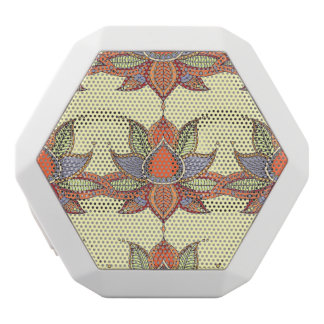 Ethnic flower lotus mandala ornament white bluetooth speaker