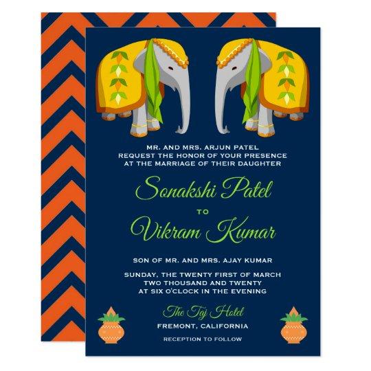 Ethnic Folk Art Elephant Indian Wedding Invitation