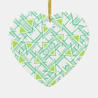 Ethnic Geo Seamless Pattern Ceramic Heart Ornament