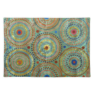 Ethnic geometric circles pattern with golden accen placemat