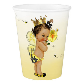 Ethnic Girl Bumble Bee Baby Shower Paper Cup