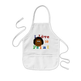 Ethnic Girl Curly Black Hair Painting Kids Apron