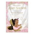 Ethnic Girl High Heel Shoe Pink Gold Baby Shower Card