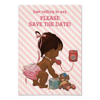 Ethnic Girl On Phone Diagonal Stripe Save The Date Card