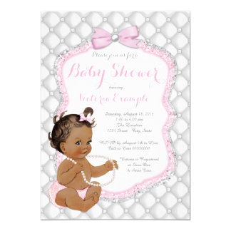 Ethnic Girl Pink Pearl Baby Shower Card
